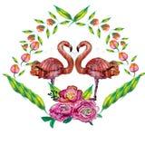 Nette kleine Prinzessin Abstract Background mit rosa Flamingo-Illustration Stockfotos