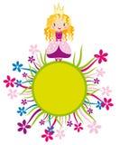 Nette kleine Prinzessin auf dem Blumenkreis Stockbilder