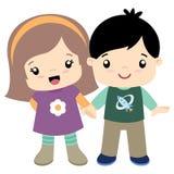 Nette kleines flache Illustration des Mädchen- und Jungenhändchenhaltens Stockfotos