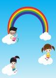 Nette Kleinkinder Junge und Mädchen des Bildungskonzeptes, die ein Buch O lesen Stockbilder