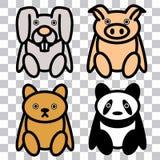 nette knuddelige Spielwaren 4x: Piggy, H?schen, B?r lizenzfreie abbildung
