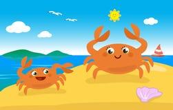 Nette Krabbenfamilie auf dem Strand Stockbild