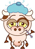 Nette Kuh, die traurig und krank sich fühlt stock abbildung
