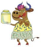 Nette Kuh mit einer Dose Milch Stockbild