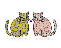 Nette Kunstkatzen für Ihr Design Stockbilder