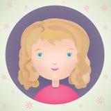 Nette lächelnde Ikone des kleinen Mädchens der Vektorkarikatur Stockfotografie