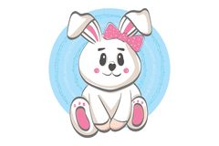 Nette lächelnde Kaninchenillustration - flache Karikaturart des Vektors stock abbildung