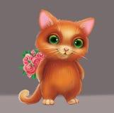 Nette lächelnde Pelz-Kitten Holding Flowers als Geschenk für geliebtes - grünäugiger von Hand gezeichneter Karikatur-Tier-Charakt Stockfoto