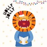 Nette Löwe Weihnachtskarte lizenzfreie abbildung
