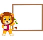 Nette Löwekarikatur mit whiteboard vektor abbildung