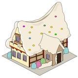Nette lokalisierte Illustration des Lebkuchenhauses stock abbildung