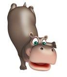 Nette lustige Flusspferdzeichentrickfilm-figur lizenzfreie abbildung