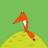 Nette lustige Karikaturart großen roter Fox-Endstücks durchdacht zu schlafen, sitzend auf dem Grasgrünhintergrund Stockbild