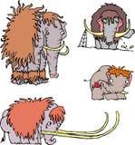 Nette lustige Mammutkarikaturen Stockfotografie