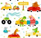 Nette lustige Tiere Lama, Krokodil, Bücherwurm, Kaninchen, Maus, Schildkröte und Schwein, die an bunte Autos zum Glück fahren Stockbild