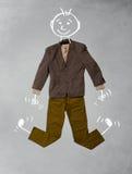 Nette lustige Zeichentrickfilm-Figur in der zufälligen Kleidung Stockbilder