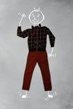 Nette lustige Zeichentrickfilm-Figur in der zufälligen Kleidung Stockfoto