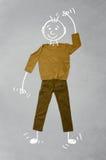 Nette lustige Zeichentrickfilm-Figur in der zufälligen Kleidung Stockfotografie