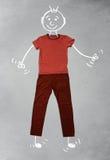 Nette lustige Zeichentrickfilm-Figur in der zufälligen Kleidung Stockfotos