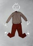 Nette lustige Zeichentrickfilm-Figur in der zufälligen Kleidung Lizenzfreies Stockfoto