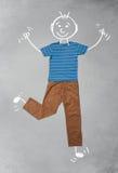 Nette lustige Zeichentrickfilm-Figur in der zufälligen Kleidung Lizenzfreie Stockfotos