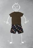 Nette lustige Zeichentrickfilm-Figur in der zufälligen Kleidung Lizenzfreies Stockbild