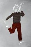 Nette lustige Zeichentrickfilm-Figur in der zufälligen Kleidung Lizenzfreie Stockfotografie