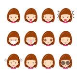Nette Mädchen Emoticons eingestellt Lizenzfreies Stockbild