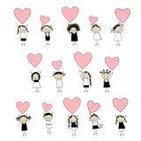 Nette Mädchen mit Valentinsgrußinneren für Ihre Auslegung lizenzfreie abbildung