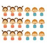 Nette Mädchen-und Jungen-Gesichter, die verschiedene Gefühle zeigen lizenzfreie abbildung