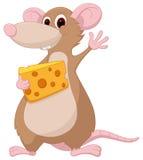 Nette Mäusekarikatur mit Käse Lizenzfreies Stockfoto