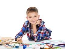 Nette Malerei des kleinen Jungen Lizenzfreies Stockfoto