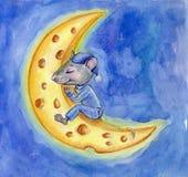 Nette Maus am Mond vektor abbildung