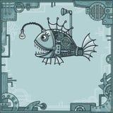 Nette mechanische Fische Hintergrund - ein Rahmen von den Metalldetails, der Eisenmechanismus stock abbildung