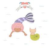 Nette Meerjungfrauen und Katzen unter Wasserillustration Stockfotos