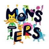 Nette Monster-Zeichentrickfilm-Figuren Stockfotos