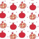 Nette nahtlose Vektormuster-Hintergrundillustration mit Granatäpfeln lizenzfreie abbildung