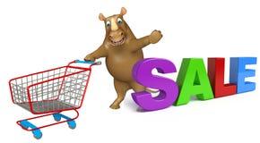 Nette Nashornzeichentrickfilm-figur mit bigsale Zeichen und Laufkatze Stockfoto
