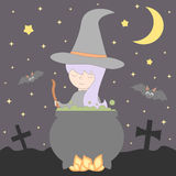 Nette nette junge Karikaturhexe kocht einen Trank im Großen Kessel in der Nacht-Halloween-Illustration Stockfotos