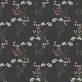 Nette Niederlassungen der nahtlosen Musterbeschaffenheit der Blumen auf Grau Stockbild
