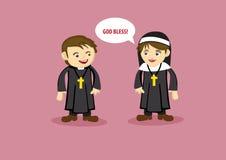 Nette Nonne Says God Bless zum Priester Cartoon Style Vector Illustrat Stockbild