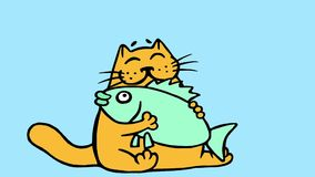 Nette orange Katze, die große Fischanimation umarmt stock footage