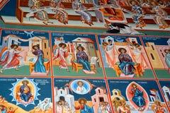 Nette orthodoxe Ikonen Heilig-Anna--Rohiakloster, aufgestellt in einem natürlichen und lokalisierten Platz, in Maramures, Siebenb Lizenzfreie Stockbilder