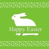 Nette Ostern-Frühlingskarte mit Hasen und Blumen, Hintergrund Lizenzfreies Stockfoto