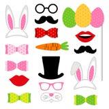 Nette Ostern-Passfotoautomatstützen einstellte so von grafischen Elementen der Partei des Osterhasenkostüms wie Maske, Ohren, Eie stock abbildung
