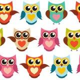 Nette Owl Seamless Pattern Background Vector-Illustration Lizenzfreie Stockfotografie