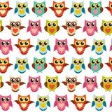 Nette Owl Seamless Pattern Background Vector-Illustration Lizenzfreies Stockbild
