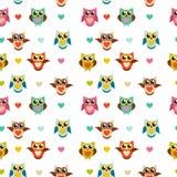 Nette Owl Seamless Pattern Background Vector-Illustration Stockfotografie