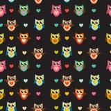 Nette Owl Seamless Pattern Background Vector-Illustration Lizenzfreie Stockfotos