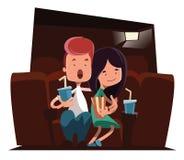 Nette Paare an der Kinotheater-Illustrationszeichentrickfilm-figur Lizenzfreie Stockfotografie